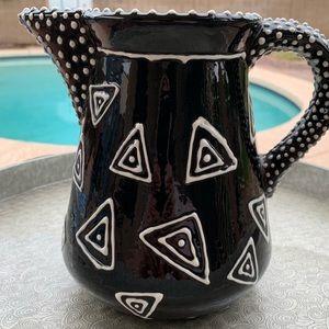 Vintage 1993 Black & White raised pitcher ceramic